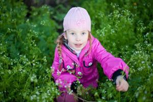 Kind sammelt Kräuter