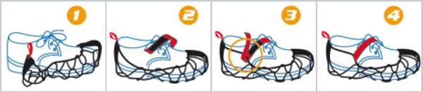 Ezy Shoes Schneeketten mit Spikes sind sehr einfach anzulegen!