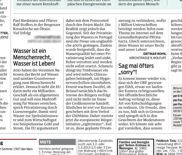 Unser Leserbrief in den VN vom 23.01.2013