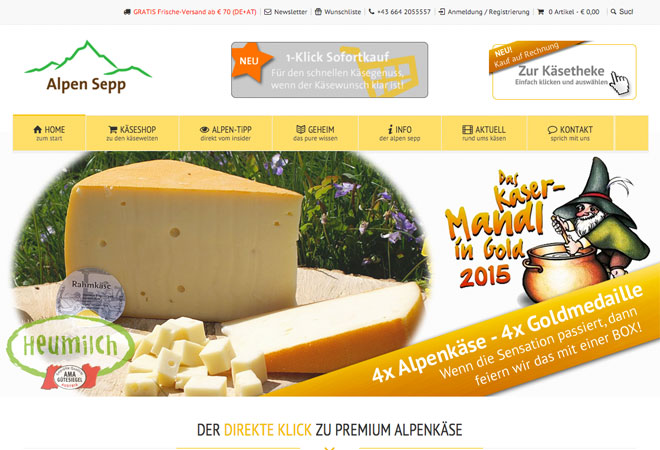 Screenshot vom Alpen Sepp Käse Onlineshop